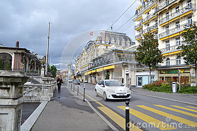 Street in Montreux, Switzerland Editorial Stock Image