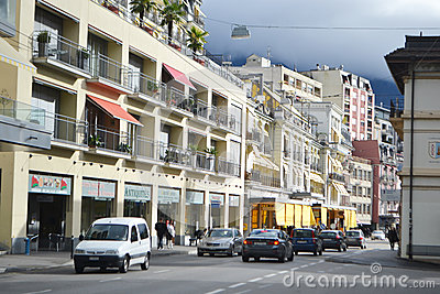 Street in Montreux, Switzerland Editorial Image
