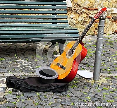 Street musician on break