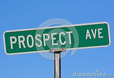 Street name sign Prospect Ave