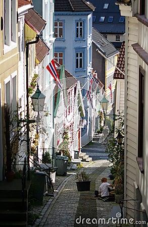 Free Street Of Bergen, Norway. Royalty Free Stock Image - 2997156