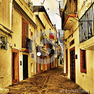 Free Street Of Dalt Vila, The Old Town Of Ibiza Town, In Balearic Isl Stock Photography - 31474002