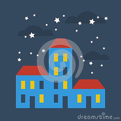 Free Street Of Houses Under Stars Stock Photo - 80432230