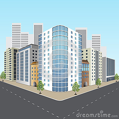 Free Street Of The City With Office Buildings Royalty Free Stock Images - 38404759