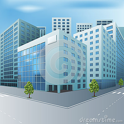Free Street Of The City With Office Buildings Stock Photography - 39916082