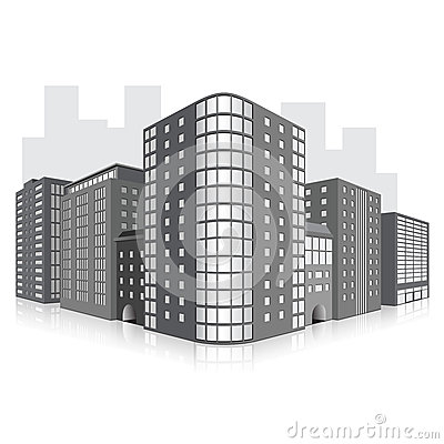 Free Street Of The City With Office Buildings And Refle Royalty Free Stock Image - 38068266