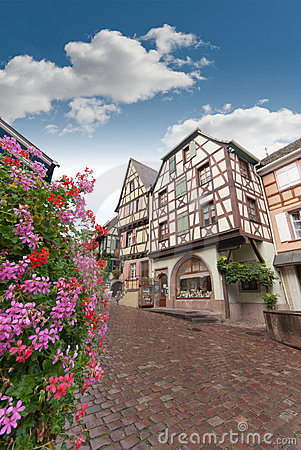 Street in old Alsace town, Riquewihr