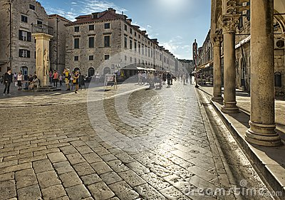 Street in the old town Dubrovnik, Croatia Editorial Photography