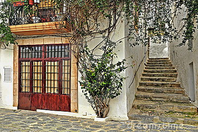 A street of old town of Ibiza, Balearic Islands