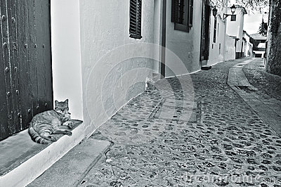 Street of old town of Ibiza Town, Balearic Islands, Spain