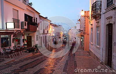 Street in old town of Lagos, Portugal Editorial Image