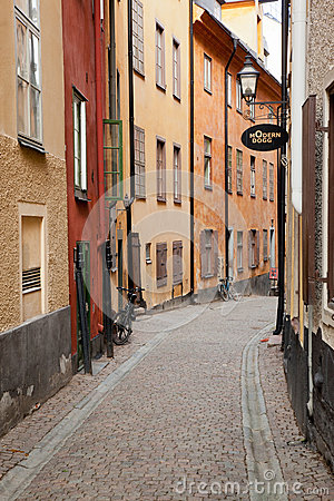 Street in Old town in Stockholm Editorial Photography