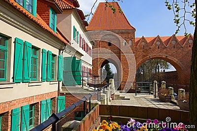 Street in old town of Torun,  Poland