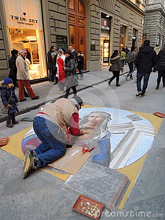Street painter with chalk