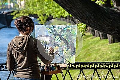 Street painter Editorial Stock Photo