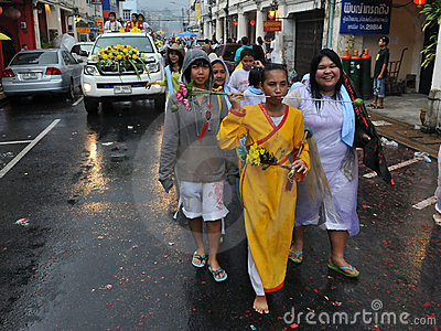 Street Parade of the Phuket Vegetarian Festival Editorial Stock Image