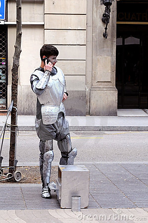 STREET PERFORMER BARCELONA Editorial Photo