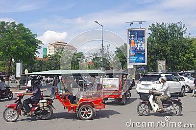 Street in Phnom Penh Editorial Stock Image