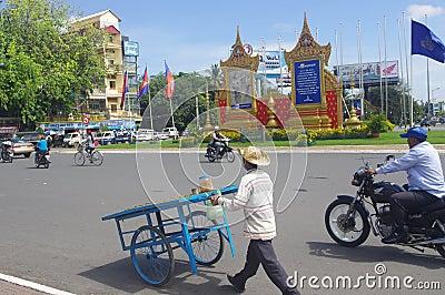 Street in Phnom Penh Editorial Image