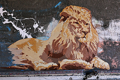 Street Poster Art of a Lion Editorial Photography