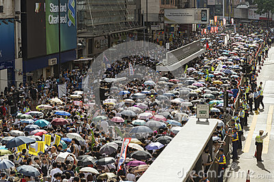 Street Protests in Hong Kong Editorial Stock Photo