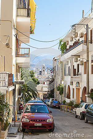 Street with residential houses Chania Editorial Image