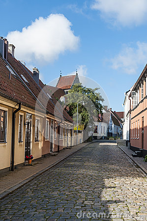 Street with residentual buildings, Simrishamn Editorial Stock Image