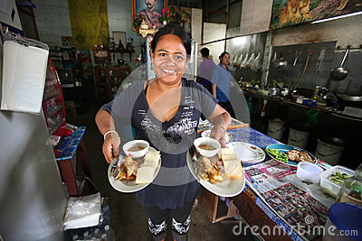 Street restaurant in Ko Chang, Thailand Editorial Stock Photo