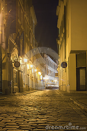 Street in Riga by night, Latvia