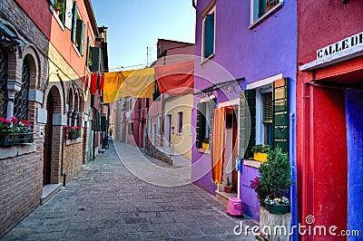 Street scene in Burano Italy