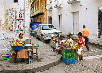 Street Scene. Cartagena, Colombia Editorial Photo