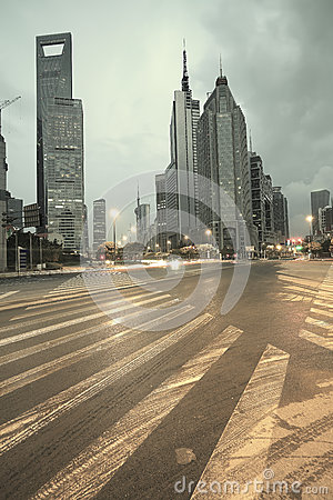 The street scene of the century avenue in shanghai,China.