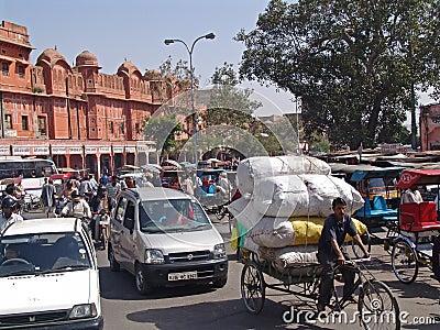 Street scene Jaipur,Rajasthan, India Editorial Image