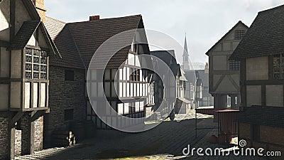 Street scene in a Mediaeval Town
