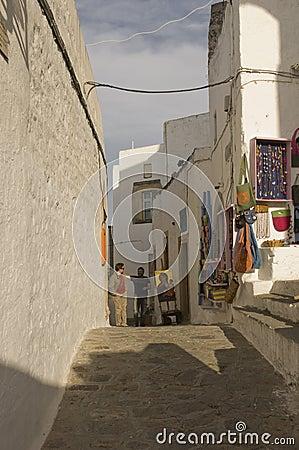Street scene in Skala, Greece Editorial Photography