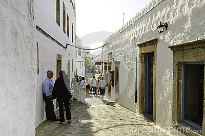 Street scene in Skala, Greece Editorial Stock Photo