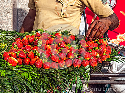 Street selling strawberries