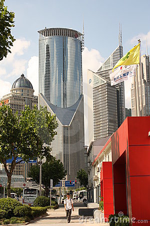 Street of Shanghai (Pudong) Editorial Image