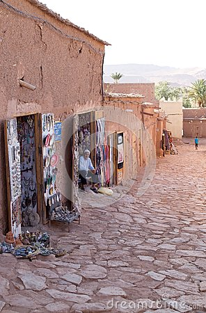Street shops at Aid Benhaddou Editorial Photography