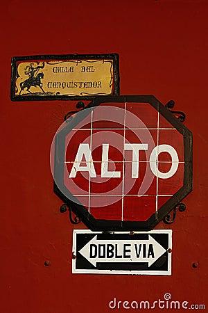 Street Sign in Antigua, Guatemala