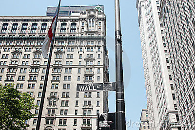 Street sign Broadway Wall street