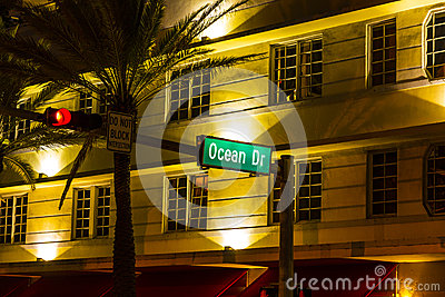 Street sign at Ocean drive in South Editorial Photo