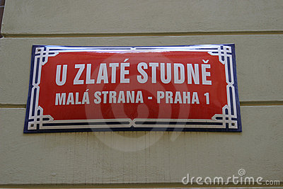 Street sign in Prague