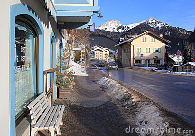 Street of ski resort Kampitello in Italy