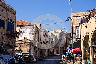 Street in South Tel Aviv,Jaffa Editorial Stock Photo