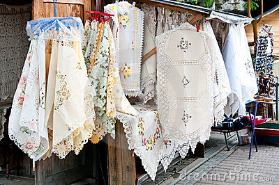 Street stall with tablecloth