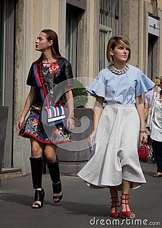 Free Street Style During Milan Fashion Week For Spring/Summer 2015 Stock Image - 44701251