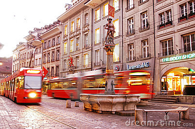 Street in Swiss capital Bern Editorial Image
