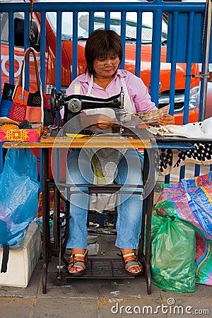 Street Tailor Woman Bangkok Straight Editorial Image