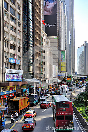 Street and traffic in Hongkong city Editorial Stock Photo